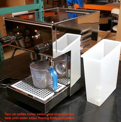 Profitec Pro 300 espresso machine: Draining the Boilers